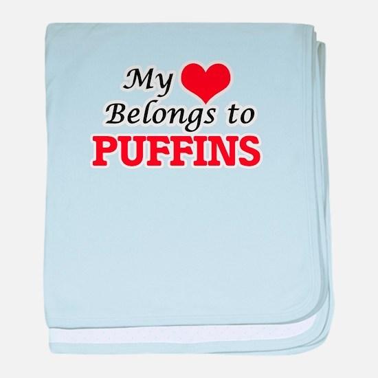 My heart belongs to Puffins baby blanket
