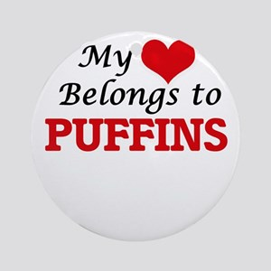 My heart belongs to Puffins Round Ornament