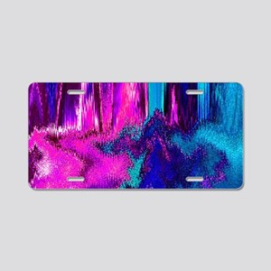 Melted Glitch (Pink & Teal) Aluminum License Plate