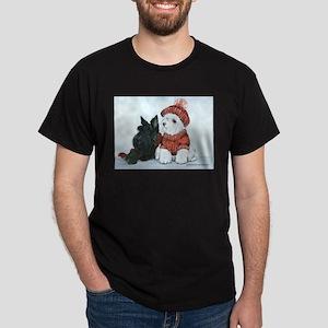 Scottie & Westie Snow Dogs Dark T-Shirt
