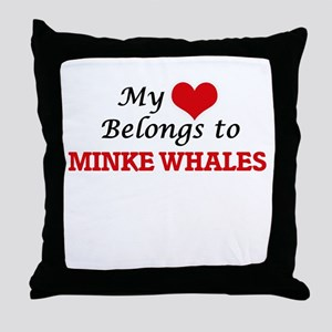 My heart belongs to Minke Whales Throw Pillow