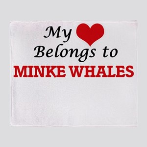 My heart belongs to Minke Whales Throw Blanket