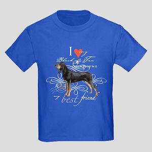 Black and Tan Coonhound Kids Dark T-Shirt