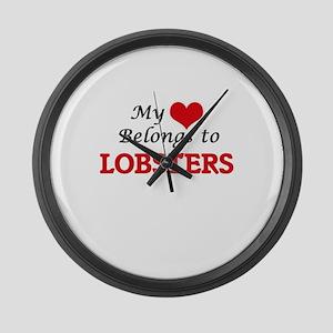 My heart belongs to Lobsters Large Wall Clock