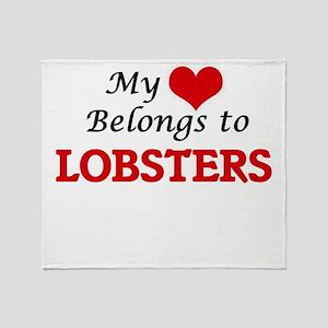 My heart belongs to Lobsters Throw Blanket