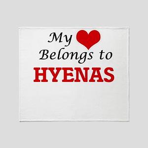 My heart belongs to Hyenas Throw Blanket