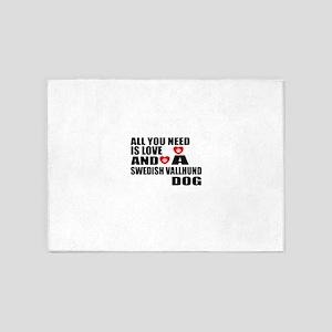 All You Need Is Love Swedish Vallhu 5'x7'Area Rug