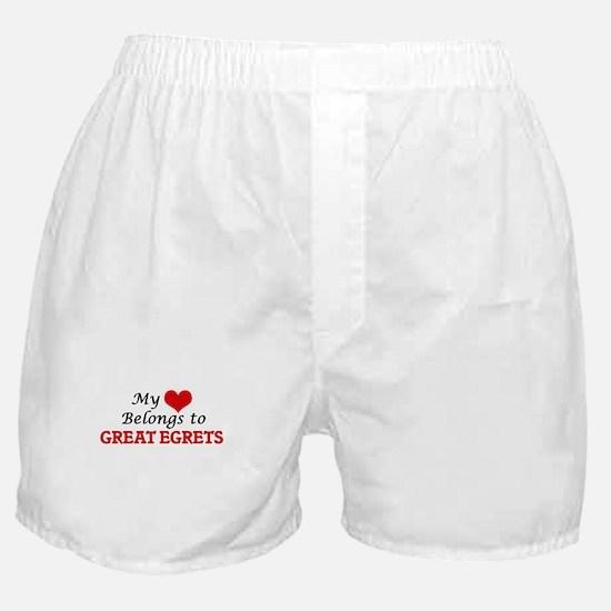 My heart belongs to Great Egrets Boxer Shorts