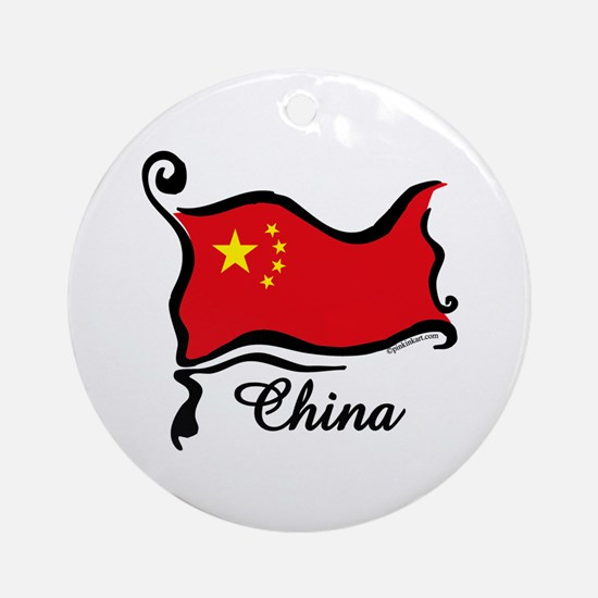 Funky Chinese Flag Ornament (Round)
