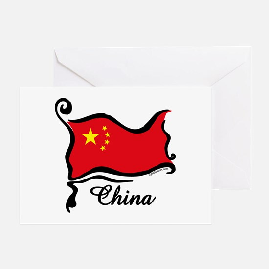 Funky Chinese Flag Greeting Card