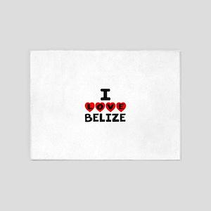 I Love Belize 5'x7'Area Rug