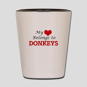 My heart belongs to Donkeys Shot Glass