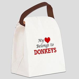 My heart belongs to Donkeys Canvas Lunch Bag