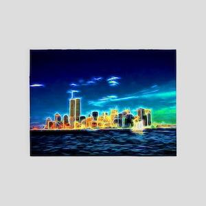 Manhattan Skyline, New York, USA 5'x7'Area Rug