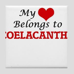 My heart belongs to Coelacanths Tile Coaster