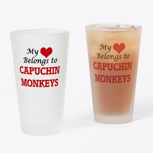 My heart belongs to Capuchin Monkey Drinking Glass