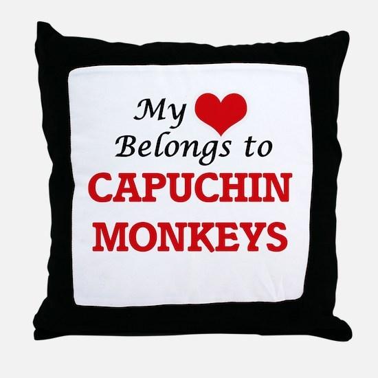 My heart belongs to Capuchin Monkeys Throw Pillow