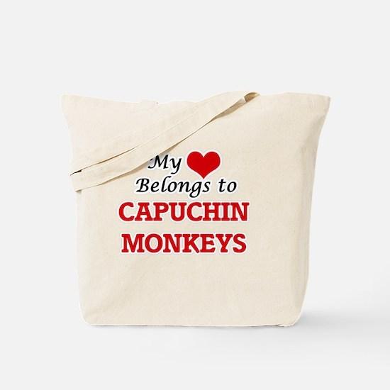 My heart belongs to Capuchin Monkeys Tote Bag