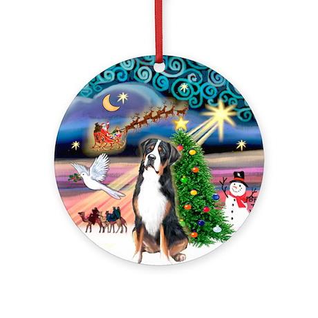 Xmas Magic Greater Swiss Mt Dog Ornament (Round)