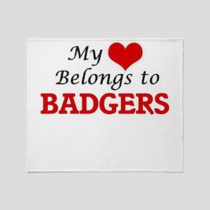 My heart belongs to Badgers Throw Blanket