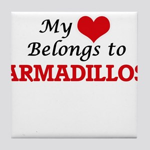 My heart belongs to Armadillos Tile Coaster