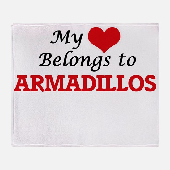 My heart belongs to Armadillos Throw Blanket