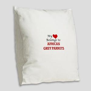 My heart belongs to African Gr Burlap Throw Pillow