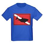 Shark Diving Flag Kids Dark T-Shirt