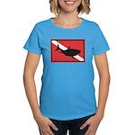 Shark Diving Flag Women's Dark T-Shirt