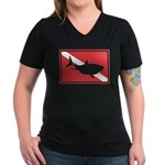 Shark Diving Flag Women's V-Neck Dark T-Shirt
