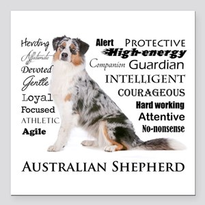 "Aussie Traits Square Car Magnet 3"" x 3"""