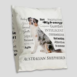 Aussie Traits Burlap Throw Pillow