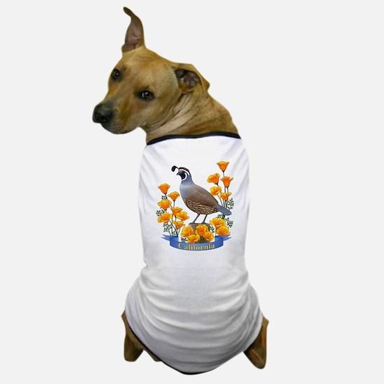 California Quail and Golden Poppy Dog T-Shirt