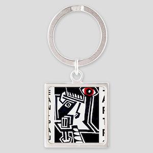 Jean-Paul Sartre Square Keychain