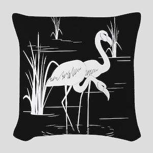 Flamingo Silhouette Woven Throw Pillow