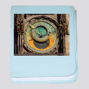 Prague Astronomical Clock Tower in Ol baby blanket