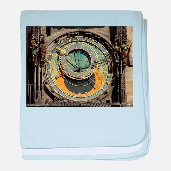 Prague Astronomical Clock Tower in Ol baby blanket