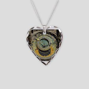 Prague Astronomical Clock Tow Necklace Heart Charm