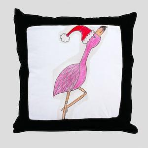 Christmas Flamingo Throw Pillow