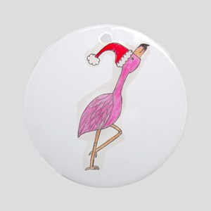 Christmas Flamingo Ornament (Round)