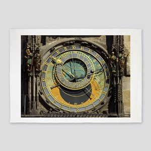 Prague Astronomical Clock Tower in 5'x7'Area Rug