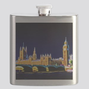Houses of Parliament with Big Ben, London Flask