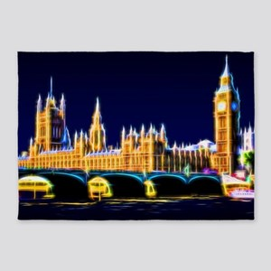 Houses of Parliament with Big Ben, 5'x7'Area Rug