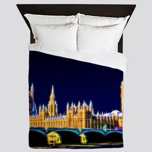 Houses of Parliament with Big Ben, Lon Queen Duvet