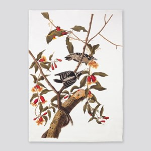 Downy Woodpecker Vintage Audubon Art 5'x7'Area Rug