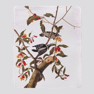 Downy Woodpecker Vintage Audubon Art Throw Blanket