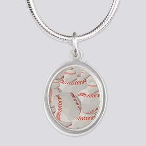 Baseball pile Silver Oval Necklace