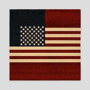 USA FLAG WOOD Queen Duvet