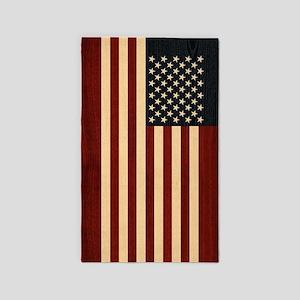 USA FLAG WOOD Area Rug