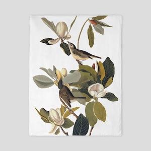 Warbling Flycatcher Bird Vintage Audubon Art Twin